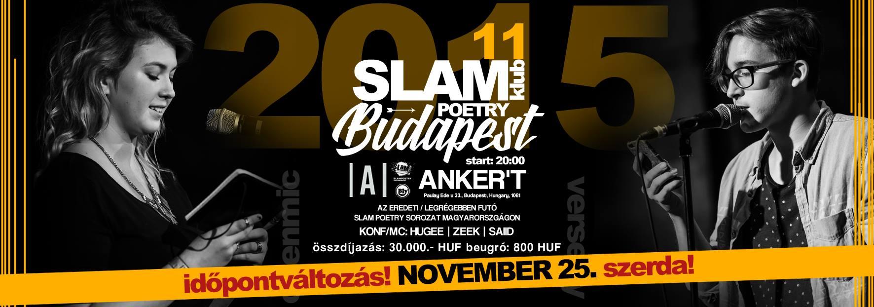 Slam Poetry Budapest Klub @ Anker't 2015. 11. 25. / SZERDA