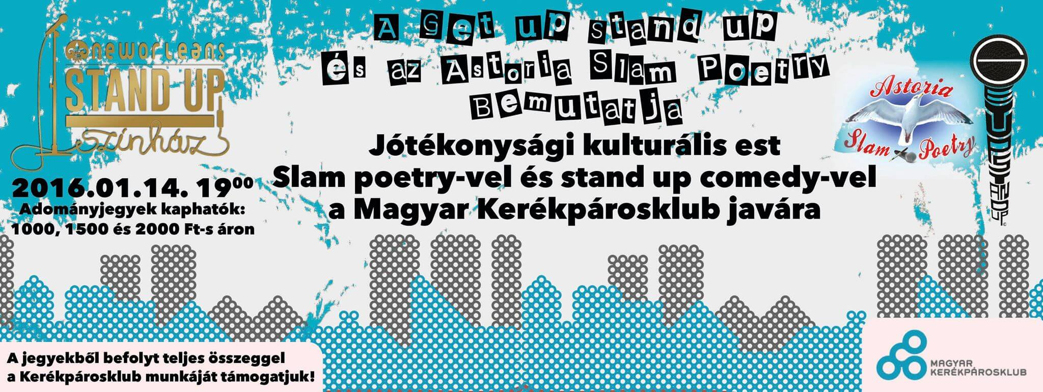 Jótékonysági kulturális est slam poetry-vel és stand up comedy-vel, a Magyar Kerékpárosklub javára