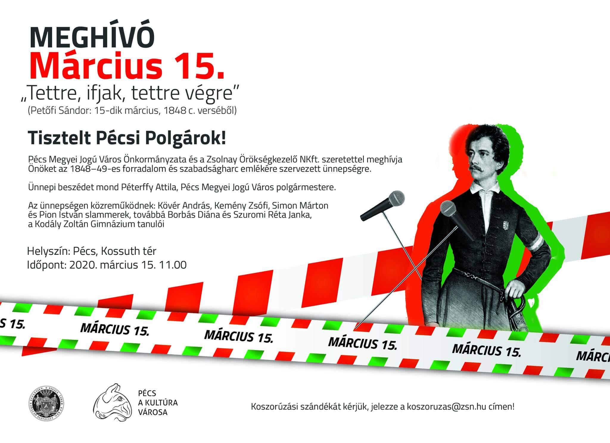 Nemzeti ünnep – március 15. – 2020 @Pécs ELMARAD/CANCELLED